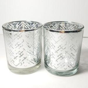 2 candle votive holder silver holidays decor